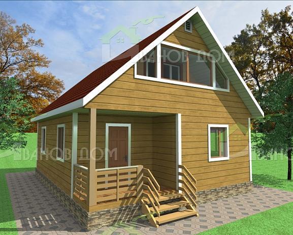 Каркасный дом с мансардой 7х9 под ключ НЕДОРОГО, проекты, цены и фото в Волхов